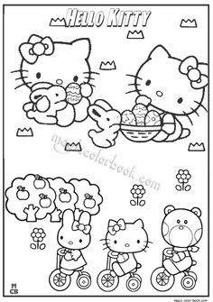 Hello Kitty Coloring Cat Tattoos Sanrio Colouring Paper Pages