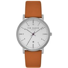 Ted Baker London Samuel Slim Leather Strap Watch, 40Mm (8.730 RUB) ❤ liked on Polyvore featuring jewelry, watches, stainless steel wrist watch, ted baker watches, slim watches, leather-strap watches and stainless steel jewellery