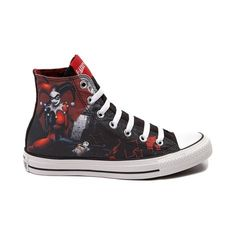 Converse All Star Harley Quinn Sneaker. Already have one pair with Harley but these are really tempting Converse Chuck Taylor All Star, Converse All Star, Converse Shoes, Converse Trainers, Converse Logo, Custom Converse, Sneakers Mode, Sneakers Fashion, Shoes Sneakers
