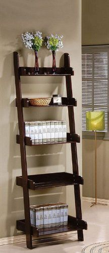 """Book Shelf 5-Tier Ladder Espresso Finish by Acme Furniture. $149.00. Contemporary design. Assembly required. Espresso finish. 5-Tier Ladder design. Shelf: 18"""" x 25"""" x 79""""H. Dimension: 25""""W x 18""""D x 79""""H Finish: Espresso  Material: Wood  Book Shelf 5-Tier Ladder Espresso Finish  Item can be used for placement of books, DVDs, tapes or a stereo system.  Assembly required."""
