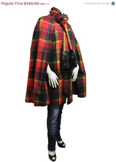 Storewide SALE Red Plaid Cape and Matching by RockItAgainVintage, $102.00