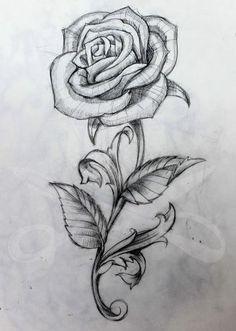 Rose And Stem Tattoo Art Rose Drawing Tattoo, Flower Tattoos - - jpeg Rose Drawing Tattoo, Tattoo Sketches, Drawing Sketches, Tattoo Drawings, Pencil Drawings, Art Drawings, Rose Drawings, Rose Drawing Pencil, Drawing Ideas