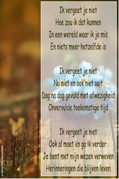 Ik vergeet je niet, ik mis je zo veel. ♡ Linda Forever 28 Miss You Mom, Beautiful Lyrics, Grief Loss, Horse Quotes, Message In A Bottle, Meaning Of Life, Religious Quotes, Good Thoughts, Love Words