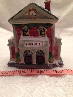 "Christmas Village Town Hall 3 3/4"" Wide By 3 3/4"" Tall Ceramic"