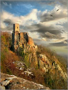 Chateau ruins in the Vosges mountains, Alsace, France