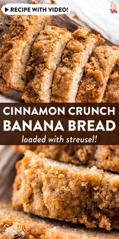 This whole wheat cinnamon crunch banana bread is SO good! Made with whole wheat flour, healthy Greek yogurt, mashed banana, eggs and oil. The cinnamon streusel crunch topping is perfect - great for a special Christmas morning brunch. Healthy Bread Recipes, Banana Bread Recipes, Banana Breakfast Recipes, Healthy Breads, Gluten Free Banana Bread, Cinnamon Recipes, Healthy Banana Bread, Cooking Recipes, Vegan Breakfast