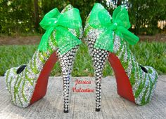 Zebra Light Green & Silver Glitter Heels from RippedClothing on Etsy. Silver Glitter Heels, Glitter Shoes, Glitter Top, Glitter Paint, Green Glitter, Pretty Shoes, Beautiful Shoes, Prom Shoes, Wedding Shoes