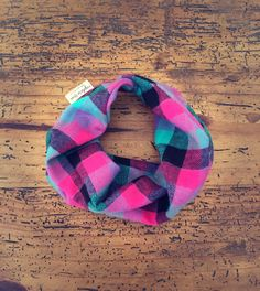 Baby/toddler plaid bib scarf - drool/teething/dribble infinity scarf with snap for boy or girl - green, purple, black soft and warm plaid by captureYou on Etsy