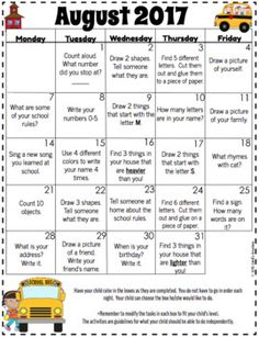 Easy Homework  Calendar Each Month Nothing Extra Needed
