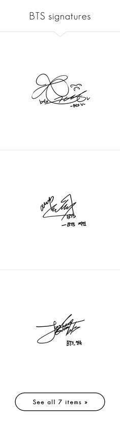 """""""BTS signatures"""" by sunshine-moonlight ❤ liked on Polyvore featuring bts"""