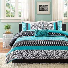 Teal Blue Black Cheetah Animal Print Teen Girl Bedding Twin XL Full/Queen Comforter Quilt Duvet Set