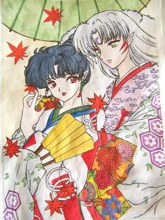 "The most beautiful Kagura Sessomaru fanart I have yet to find. I love everything about this. KaguSess from the anime/manga ""Inuyasha"""