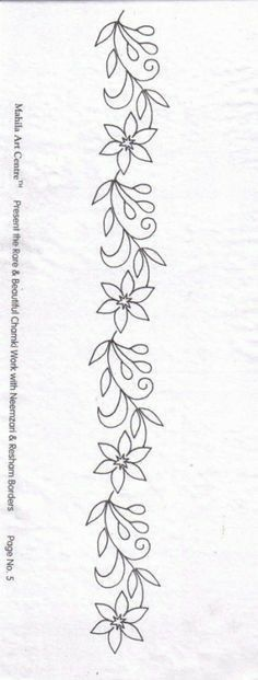 Border Embroidery Designs, Embroidery Flowers Pattern, Embroidery Patterns Free, Hand Embroidery Stitches, Ribbon Embroidery, Quilting Designs, Beading Patterns, Machine Embroidery Designs, Broderie Simple