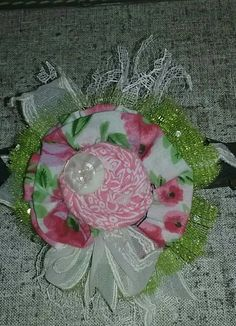 shabby chic floral hair clip by SweetDesignsbyCindy on Etsy