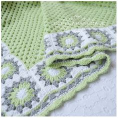 RESERVED Crochet baby blanket girl - Cottage style - gray green white color for baby cotton Ready to ship