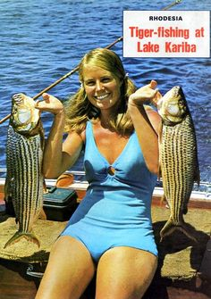 "Tiger Fishing at Lake Kariba Perhaps a ""Troopie Groupie"" brought along on leave? Zimbabwe, Tiger Fish, Ian Smith, South African Air Force, Victoria Falls, Out Of Africa, African Safari, Its A Wonderful Life, Africa Travel"