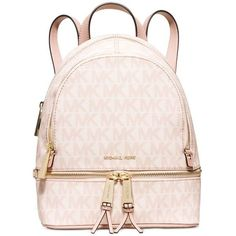 Michael Michael Kors Rhea Extra Small Backpack ($193) ❤ liked on Polyvore featuring bags, backpacks, daypack bag, michael kors bags, pink backpack, michael kors and tablet bag