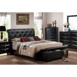 POUNDEX Furniture - Black Faux Leather Queen Bed - F9157Q  SPECIAL PRICE: $499.00