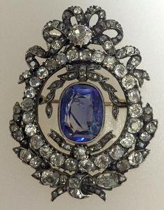 Edwardian Sapphire diamond brooch.                                                                                                                                                                                 More