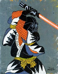 "'STAR WARS Darth Vader' from ""Ukiyo-e Character series 7"" by Japanese artist and illustrator Takao Nakagawa. source: Behance. via DesignFaves"
