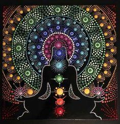 Dot art Mandala y la pintura de los chakras. Mandala Art, Mandalas Painting, Mandala Canvas, Mandala Drawing, Mandala Pattern, Aboriginal Dot Painting, Dot Art Painting, Stone Painting, Arte Chakra