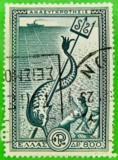 Stamps from Greece Old Stamps, Vintage Stamps, Image Of Fish, Fauna, Mail Art, Stamp Collecting, Vintage Posters, Street Art, History