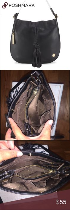 "Authentic Vince Camuto genuine leather hobo Black textured leather hobo with elegant tassel. 10"" should strap drop. Top magnetic snap closure. Comes with dust bag. Dimensions: 12"" W 14"" H 2"" D Vince Camuto Bags Hobos"