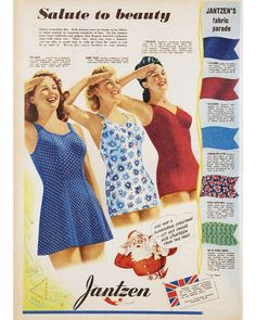 """Give her a glamorous Christmas - let her choose her Jantzen from this page."" Okay Santa, I'll take the suit on the left! Jantzen, 1941,…"