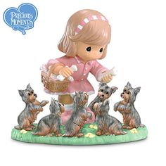 Now you can celebrate a girl's love for her best friend with this charming collectible Precious Moments® Yorkie Lover figurine.