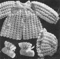 *Free Crochet Pattern: Alice Fowler Crocheted Baby Set 1259