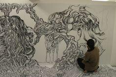 Amazing wall to wall drawing by Yosuke Goda   Just Imagine – Daily Dose of Creativity