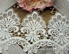 """Rayon VENICE Lace Floral Points Edge Trim ECRU BTY 4.5/"""" wide Bridal// Formal NEW"""