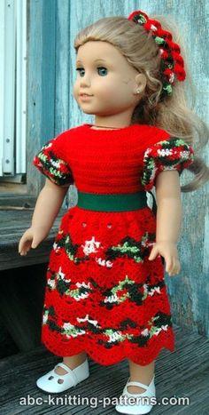 American Girl Doll - Perfect Christmas Dress - Free crochet pattern from ABC Knitting Patterns.