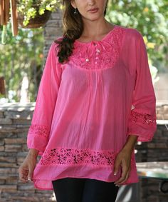 Look at this #zulilyfind! Ananda's Collection Pink Lace Tie-Up Tunic- Women by Ananda's Collection #zulilyfinds