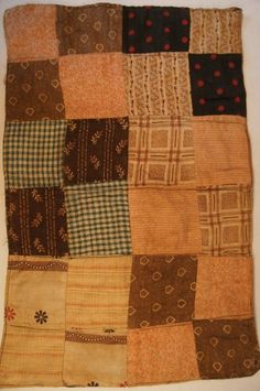 Early two sided antique doll quilt calico fabric