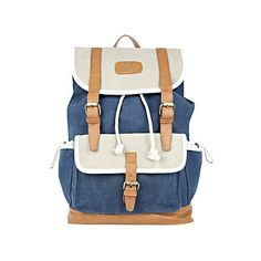 Blue colour block denim rucksack - rucksacks - bags / wallets - men (£35.00)