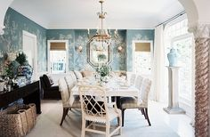 Mark D. Sikes Interior Design via House of Turquoise Interior Exterior, Home Interior, Chippendale Chairs, House Of Turquoise, Dining Room Inspiration, Design Inspiration, Top Interior Designers, Dining Room Design, Dining Rooms