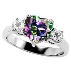 2.60 cttw Original Star K(tm) 925 Genuine Heart Shape Mystic Topaz  Ring in .925 Sterling Silver