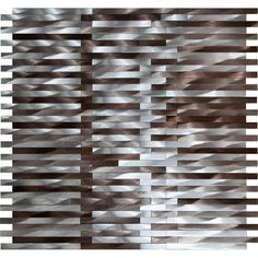 Machined Silver & Brown Aluminum Waterfall Mosaic Tile