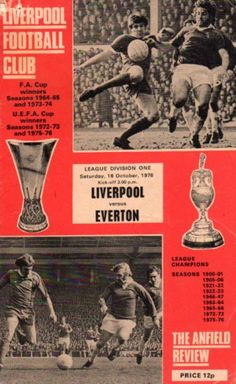 Liverpool 3 Everton 1 in Oct 1976 at Anfield. The programme cover Liverpool Fans, Liverpool Football Club, Rugby, Merseyside Derby, Bristol Rovers, Football Program, Football Cards, Soccer Poster, Everton Fc