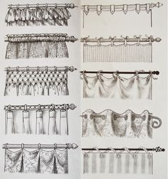 This chart, similar to the one in our book, will be helpful for remembering the numerous options offered when hanging curtains.