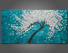"Grandes 24 ""x 48""x1.5""pintura Original de árbol de flor - espátula - empaste textura Galería estirada lienzo * turquesa * turquesa * libre S & H!"