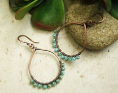 Wire Wrapped Earrings / Turquoise Earrings / Seed Bead Earrings / Copper Wire Jewelry / Most Sold Items / Fearless Creations by J