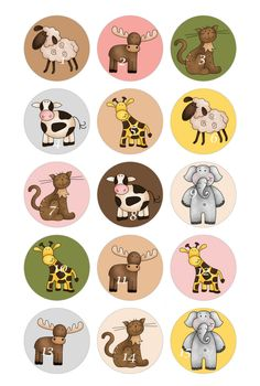 Set of 15 Noah's Ark Animals Bottle Cap Magnets