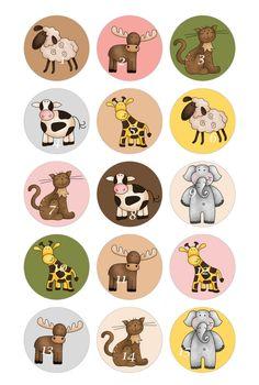 Set of 15 Noah's Ark Animals Bottle Cap Magnets