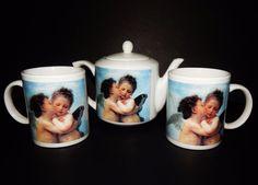 ANGEL TEA SET 3 piece White Blue Porcelain POT and 2 MUGS  Gift  MINT