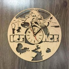 Ice Age Wall Wood Clock $31.99 Size - 12 in / 30 cm Really cool gift and unique home decoration ;) Can be personalized for free ;) Free Shipping WORLDWIDE. Tracking ID is provided. In case the clock comes broken or with defect, I will make you a refund or will send you a replacement!