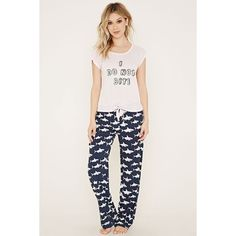 Forever 21 Women s Shark Print PJ Set ( 18) ❤ liked on Polyvore featuring  intimates 6a54e8f37