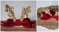 Christmas is nearly here! This Cute Rudolph Antlers Headband made with love using 100% wool felt, glitter fabric, attached to stripy elastic.