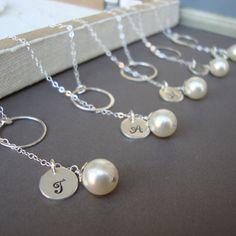 Silver Lariats SET of SIX  Dainty Bridal Personalized by lizix26, $186.00